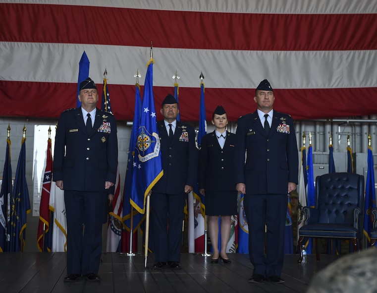 Lt. Gen. Brad Webb, left, the commander of Air Force Special Operations Command, stands with Col. Nathan Green, right, the commander of Air Force Special Operations Air Warfare Center, prior to its inactivation and subsequent activation of the 492nd Special Operations Wing during a ceremony at Hurlburt Field, May 10, 2017. Simultaneously, the 492nd Special Operations Group and the 492nd Special Operations Training Group were activated under the 492nd SOW. (U.S. Air Force photo by Airman 1st Class Joseph Pick)
