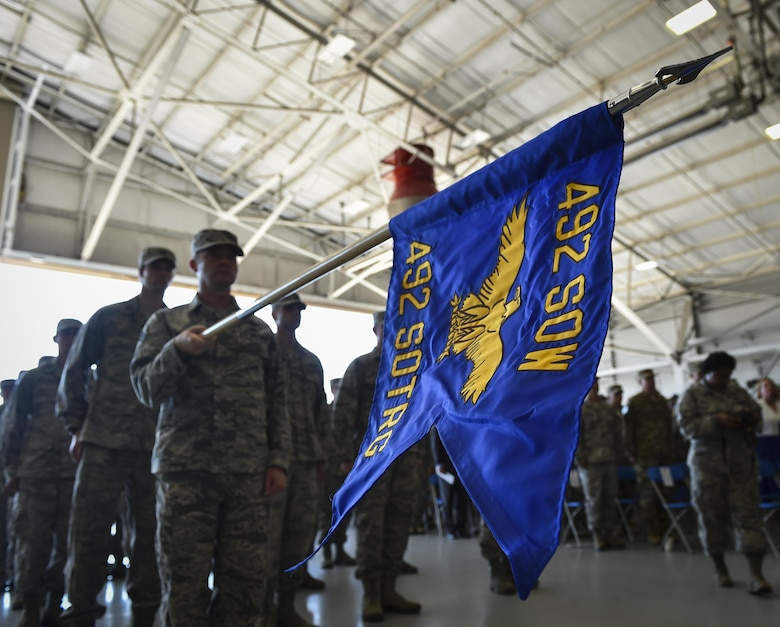 Air Commandos attend the 492nd Special Operations Wing activation ceremony at Hurlburt Field, May 10, 2017. The designator for the 492nd SOW dates back to WWII when the 801st Bombardment Group was established at Harrington Field, England, in September 1943. Almost a year later, it would be redesignated as the 492nd Bombardment Group, a cover for their secret mission—Operation Carpetbagger. (U.S. Air Force photo by Airman 1st Class Joseph Pick)