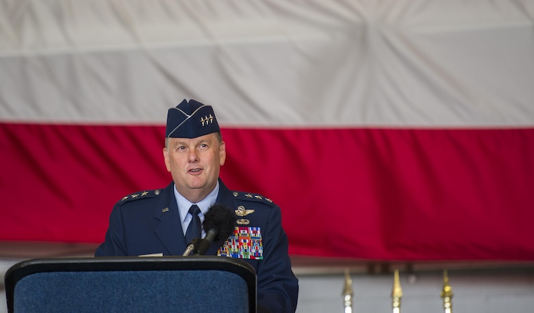 Lt. Gen. Brad Webb, the commander of Air Force Special Operations Command, speaks during the 492nd Special Operations Wing activation ceremony at Hurlburt Field, May 10, 2017. The Air Force Special Operations Air Warfare Center was inactivated and the 492nd Special Operations Wing was activated. Simultaneously, the 492nd Special Operations Group and the 492nd Special Operations Training Group were activated under the 492nd SOW.(U.S. Air Force photo by Airman 1st Class Joseph Pick)