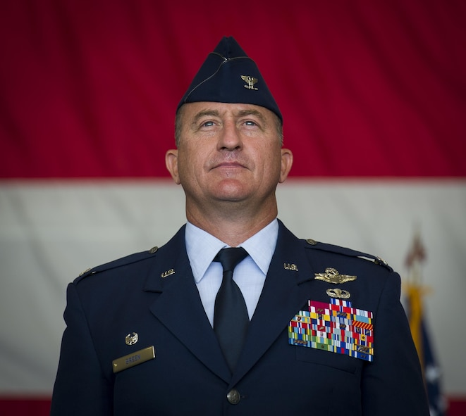 Col. Nathan Green stands after being appointed commander of the 492nd Special Operations Wing during an activation ceremony at Hurlburt Field, May 10, 2017. The designator for the 492nd SOW dates back to WWII when the 801st Bombardment Group was established at Harrington Field, England, in September 1943. Almost a year later, it would be redesignated as the 492nd Bombardment Group, a cover for their secret mission—Operation Carpetbagger. (U.S. Air Force photo by Airman 1st Class Joseph Pick)
