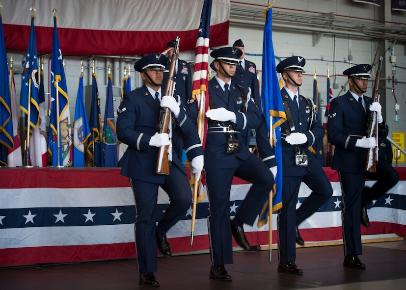 The Hurlburt Field Honor Guard presents the colors during a ceremony to deactivate Air Force Special Operations Air Warfare Center and activate the 492nd Special Operations Wing at Hurlburt Field, Fla., May 10, 2017. The Air Force Special Operations Air Warfare Center was inactivated and the 492nd SOW was activated. Simultaneously, the 492nd Special Operations Group and the 492nd Special Operations Training Group were activated under the 492nd SOW. (U.S. Air Force photo by Senior Airman Krystal M. Garrett)