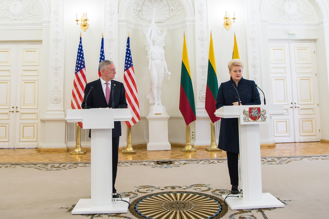 Defense Secretary Jim Mattis and Lithuanian President Dalia Grybauskaitė host a news conference
