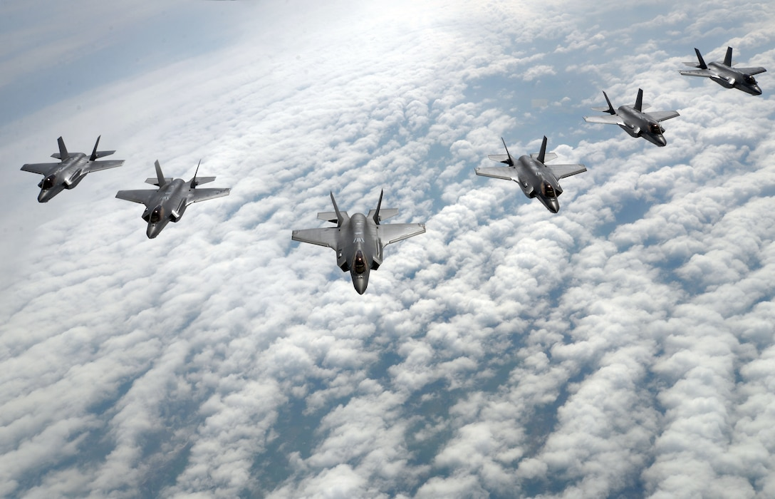 F-35 Lightning II's from Hill Air Force Base, Utah, fly in formation during a training flight May 2, 2017. F-35 pilots are using the airframe in its first-ever flying training deployment to Europe. (U.S. Air Force photo/Senior Airman Christine Groening)