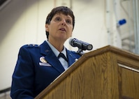 Maj. Gen. Patricia Rose, U.S. Air Force Headquarters mobilization assistant to the deputy chief of staff for logistics, engineering and force protection praises Col. Anna Schulte, 434th Maintenance Group commander during Schulte's retirement ceremony at Grissom Air Reserve Base, Ind., April 1, 2017. After spending more than 13 years as a colonel, Schulte retired after serving over 34 years in the Air Force. (U.S. Air Force photo/Staff Sgt. Katrina Heikkinen)