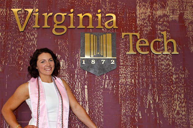 Candidate Elaine Lewis, president of the Gamma Phi Beta Sorority at Virginia Tech, will graduate May 12, 2017, and commission as a Marine Corps second lieutenant May 13, 2017, at the Virginia Tech War Memorial. Lewis, 22, from Stafford, Va., has always had a passion for leadership and will follow her father and younger sister into the Corps. (Photo Courtesy of Elaine Lewis)