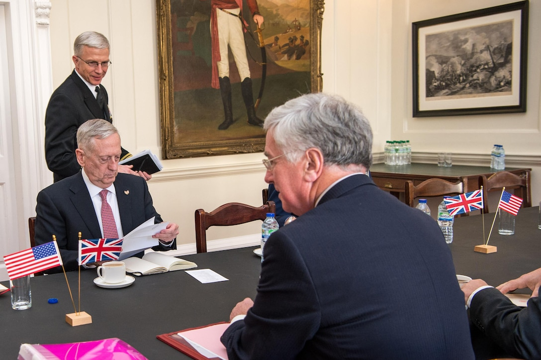 Defense Secretary Jim Mattis meets with British Defense Secretary Michael Fallon