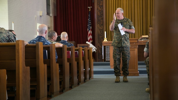 Rear Adm. Brent W. Scott gives closing remarks during the Chaplain's Professional Development Workshop at Camp Foster, Okinawa, Japan, May 8, 2017. Scott's guided discussions were centered on the topic of targeted and interpersonal violence. Chaplains are an indispensable asset to these types of instances. Scott is the chaplain of the Marine Corps.