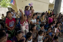 Local fans cheer during a community basketball game with U.S. service members at Margen Elementary School in Ormoc, Leyte, May 2, 2017. Balikatan is an annual U.S.-Philippine bilateral military exercise focused on a variety of missions, including humanitarian assistance and disaster relief, counterterrorism, and other combined military operations.