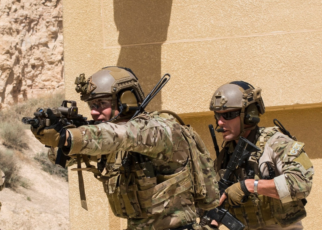 AMMAN, Jordan (May 8, 2017) Members of the Air Force Special Operation's 23rd Special Tactics Squad participate in small unit tactics at the King Abdullah II Special Operations Training Center in Amman, Jordan during Eager Lion 2017. Eager Lion is an annual U.S. Central Command exercise in Jordan designed to strengthen military-to-military relationships between the U.S., Jordan and other international partners. This year's iteration is comprised of about 7,200 military personnel from more than 20 nations that will respond to scenarios involving border security, command and control, cyber defense and battlespace management. (U.S. Navy photo by Mass Communication Specialist 2nd Class Christopher Lange/Released)