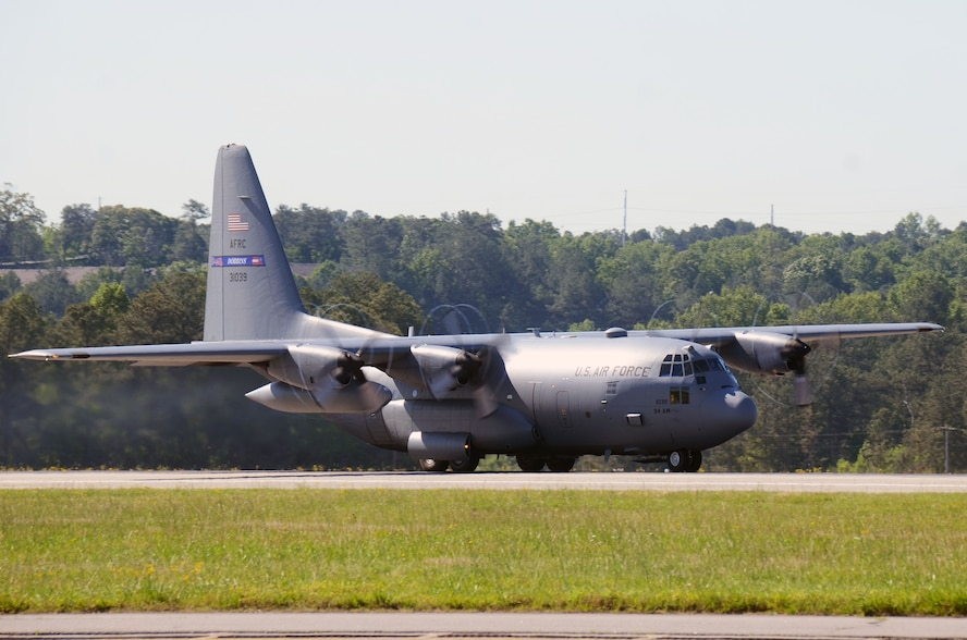 One of four C-130 H3 Hercules aircraft depart Dobbins Air Reserve Base, Georgia May 8, 2017 in route to Southwest Asia. Over 150 aircrew, aircraft maintenance and support personnel from the 94th Operations and Maintenance Groups will complete a four-month Air Expeditionary Force rotation, during which they will be responsible for cargo and personnel airlift and tactical airdrop missions. (U.S. Air Force photo/Don Peek)