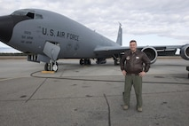 EIELSON AIR FORCE BASE, Alaska – U.S. Air Force Tech. Sgt. Chad Holloway, a 909th Air Refueling Squadron boom operator assigned to Kadena Air Base, Japan, poses for a photo in front of a KC-135T Stratotanker from Fairchild Air Force Base, Wash., May 9, 2017, during NORTHERN EDGE 2017 (NE17), at Eielson Air Force Base, Alaska. NE17 is Alaska's premier joint training exercise designed to practice operations, techniques and procedures as well as enhance interoperability among the services. Thousands of participants from all the services, Airmen, Soldiers, Sailors, Marines and Coast Guardsmen from active duty, Reserve and National Guard units are involved. (U.S. Air Force photo/Staff Sgt. Ashley Nicole Taylor)