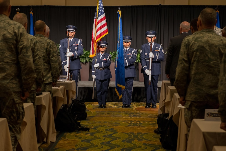 Airmen from the 137th Special Operations Wing Honor Guard present the colors to open the 2017 Air National Guard Leadership Conference at the National Center for Employee Development Conference Center, Norman, Okla., May 9, 2017. The leadership conference, attended by general officers, adjutant generals, wing commanders, command chiefs and directors of staff from across the 54 U.S. states and territories, focused on leading, protecting and supporting the 21st-century Guard Airman. (U.S. Air National Guard photo by Senior Master Sgt. Andrew M. LaMoreaux)