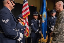 Airmen from the 137th Special Operations Wing Honor Guard visit with Chief Master Sgt. Ronald C. Anderson, command chief master sergeant of the Air National Guard, prior to presenting colors to open the 2017 Air National Guard Leadership Conference at the National Center for Employee Development Conference Center, Norman, Okla., May 8, 2017. The leadership conference, attended by general officers, adjutant generals, wing commanders, command chiefs and directors of staff from across the 54 U.S. states and territories, focused on leading, protecting and supporting the 21st-century Guard Airman. (U.S. Air National Guard photo by Senior Master Sgt. Andrew M. LaMoreaux)