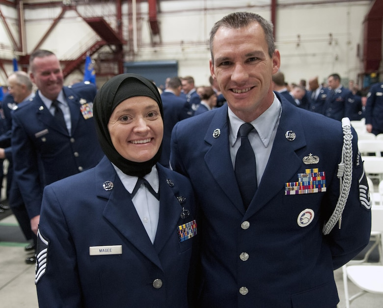 Master Sgts. Laura and Mark Magee attend the annual Nevada Air National Guard Airman of the Year Ceremony at the Nevada ANG's fuel cell hangar Dec. 4, 2016. The married couple converted to Islam after Laura completed the chaplain assistant course in Fort Jackson, S.C. three years ago. (U.S. Air National Guard photo/Tech. Sgt. Emerson Marcus)