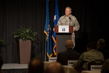 Maj. Gen. Gregory L. Ferguson, the Air National Guard assistant to the commander, Air Force Special Operations Command, welcomes attendees to the 2017 Air National Guard Leadership Conference at the National Center for Employee Development Conference Center, Norman, Okla., May 8, 2017. The leadership conference, attended by general officers, adjutant generals, wing commanders, command chiefs and directors of staff from across the 54 U.S. states and territories, focused on leading, protecting and supporting the 21st-century Guard Airman. (U.S. Air National Guard photo by Senior Master Sgt. Andrew M. LaMoreaux)
