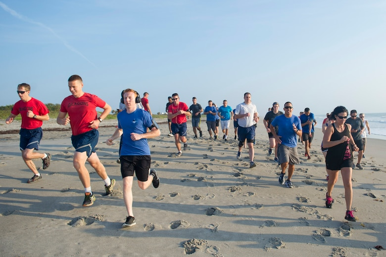 Airmen participate in an Air Force Assistance Fund 5K run April 28, 2017, at Patrick Air Force Base, Fla. All proceeds from the run benefit the Air Force Assistance Fund campaign, which began April 10, 2017, and ends May 19, 2017. The goal for the 44th Air Force Assistance Fund campaign for Patrick AFB and Cape Canaveral Air Force Station is to raise $33,713 by the end of the six-week campaign. The Air Force Assistance Fund is an annual effort to raise funds for the charitable affiliates that provide support to Air Force families in need; such as: active duty, retirees, reservists, guard and dependents, including surviving spouses. The charitable affiliate organizations provide support in an emergency, with educational needs, or a secure retirement home for widows or widowers of Air Force members in need of financial assistance. (U.S. Air Force photo by Matthew Jurgens)