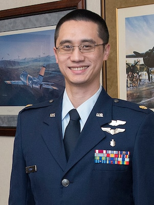 U.S. Air Force Maj. Joe, after graduation from the 558th Flying Training Squadron's Undergraduate Remotely Piloted Aircraft Training Course May 5, 2017, at Joint Base San Antonio-Randolph, Texas.  Maj. Joe is the first-ever Pilot-Physician to qualify as an RPA pilot. (U.S. Air Force Photo by Melissa Peterson)
