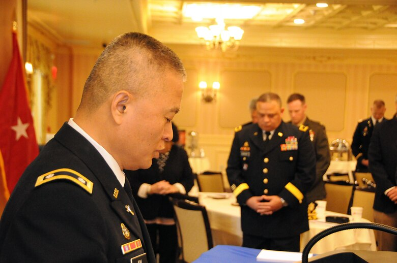 Chaplain (Lt. Col.) Sung Kim, deputy command chaplain for the U.S. Army Reserve's 99th Regional Support Command, gives the invocation May 11 at the 10th Annual Freedom Award Nominee and Pro Patria Awards luncheon, hosted by the New Jersey Committee of Employer Support of the Guard and Reserve.  Employer Support of the Guard and Reserve is a Department of Defense program that develops and promotes supportive work environments for service members in the reserve components through outreach, recognition and educational opportunities that increase awareness of applicable laws, and resolves employment conflicts between the service members and their employers.
