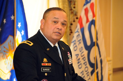 Brig. Gen. Jose R. Burgos, deputy commanding general of the U.S. Army Reserve's 99th Regional Support Command, gives the keynote speech May 11 at the 10th Annual Freedom Award Nominee and Pro Patria Awards luncheon, hosted by the New Jersey Committee of Employer Support of the Guard and Reserve.  Employer Support of the Guard and Reserve is a Department of Defense program that develops and promotes supportive work environments for service members in the reserve components through outreach, recognition and educational opportunities that increase awareness of applicable laws, and resolves employment conflicts between the service members and their employers.