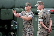 Staff Sgt. Edgar Gonzalez, left, gives instruction to Pfc. Chase Rodgers during a Semitrailer Refueler Operator Course at Marine Corps Air Station Cherry Point, N.C., May 9, 2017. The team of instructors traveled from U.S. Army Fort Leonard Wood, Mo., to train Marines assigned to East Coast commands on the skills needed to become a semitrailer refueler operator. Gonzalez is an SROC instructor assigned to the Marine Corps Detachment Training Command and Rodgers is a motor transport operator with 2nd Transport Battalion, Combat Logistics Regiment 2, 2nd Marine Logistics Group. (U.S. Marine Corps photo by Cpl. Jason Jimenez/ Released)