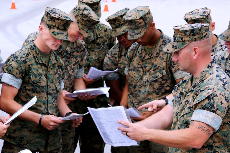 Staff Sgt. Cory Wilbur, right, discusses course material with students during a Semitrailer Refueler Operator Course at Marine Corps Air Station Cherry Point, N.C., May 9, 2017. The course was filled with a combination of Marines assigned to 2nd Marine Aircraft Wing and various other units throughout II Marine Expeditionary Force. Upon completion of the course, motor transport Marines gain the secondary military occupational specialty, semitrailer refueler operator. Wilbur is a SROC instructor assigned to the Marine Corps Detachment Training Command, based out of U.S. Army Fort Leonard Wood, Mo. (U.S. Marine Corps photo by Cpl. Jason Jimenez/ Released)