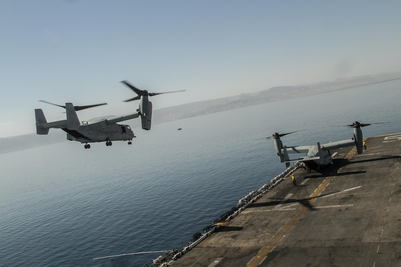 A U.S. Marine V-22 Osprey ascends the USS Bataan in Aqaba, Jordan, to begin a demo flight in support of Eager Lion 2017.   Eager Lion is an annual U.S. Central Command exercise in Jordan designed to strengthen military-to-military relationships between the U.S., Jordan and other international partners. This year's iteration is comprised of about 7,200 military personnel from more than 20 nations that will respond to scenarios involving border security, command and control, cyber defense and battlespace management.  (U.S. Army photo by Sgt. Mickey A. Miller)