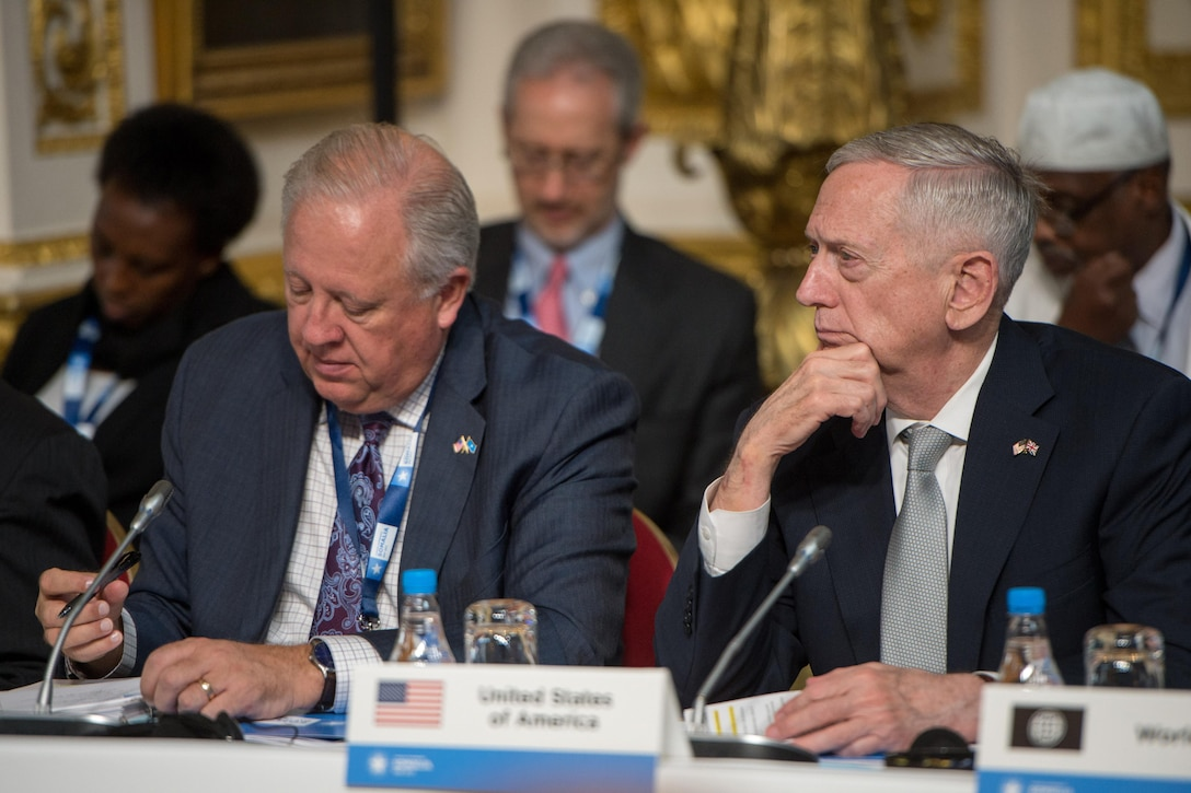 Defense Secretary Jim Mattis and Thomas Shannon, undersecretary of state for political affairs