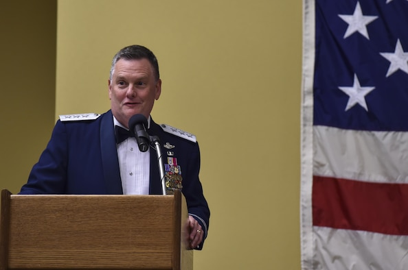 Lt. Gen. Brad Webb, commander of Air Force Special Operations Command, speaks during AFSOC's 2016 Outstanding Airmen of the Year banquet at Hurlburt Field, Fla., May 10, 2017. The award winners toured Hurlburt Field May 8 and 9 before being honored at the annual awards banquet held May 10 to celebrate their accomplishments. (U.S. Air Force photo by Airman 1st Class Joseph Pick)