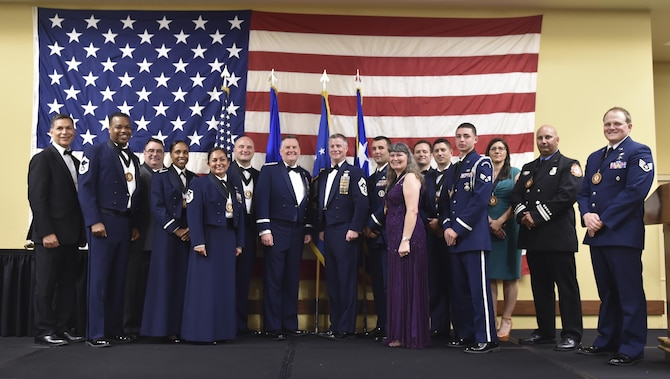 Air Force Special Operations Command leadership stands with AFSOC's 2016 Outstanding Airmen of the Year at Hurlburt Field, Fla., May 10, 2017. The award winners toured Hurlburt Field May 8 and 9 before being honored at the yearly awards banquet held May 10 to celebrate their accomplishments. (U.S. Air Force photo by Airman 1st Class Joseph Pick)