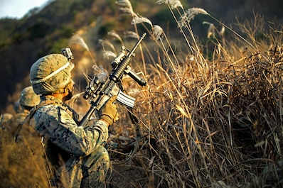 U.S. Marine Cpl. Michael Maas participates in a platoon assault during Korea Marine Exchange Program 17-1 Nov. 25, 2016 at Suseong-ri range, South Korea. KMEP offers realistic training leveraging the most advanced tactics and technology to ensure a trained and ready ROK-U.S. combined force. Maas is from Atlanta, Georgia and is assigned to 3rd Battalion, 2nd Marine Regiment, which is forward deployed from Camp Lejeune, North Carolina, to 3rd Marine Division, based in Okinawa, Japan. (U.S. Marine Corps photo by Sgt. Isaac Ibarra)