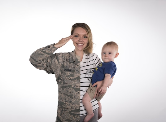 Airman 1st Class Lauren Sprunk, 23d Wing photojournalist, and her son, Jayce, pose for a photo illustration, May 11, 2017, at Moody Air Force Base, Ga., in honor of mothers who serve in the military. (U.S. Air Force photo illustration by Airman 1st Class Lauren M. Sprunk and Senior Airman Janiqua Robinson)