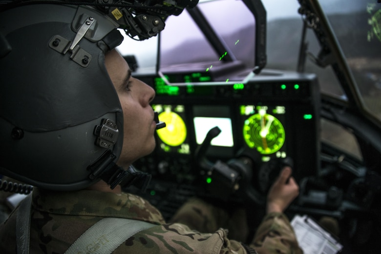 A U.S. Air Force 17th Special Operations Squadron pilot flies the U.S. Air Force MC-130J Commando II during low-level operations through mountainous terrain on the Republic of Korea peninsula, April 1, 2017. Throughout Foal Eagle 2017, the 1st SOS and 17th SOS provided specialized aviation to members of the ROK Air Force 255th SOS, ROK Special Warfare Command, U.S. Marine Corps III Marine Expeditionary Force and U.S. Air Force 320th Special Tactics Squadron. (U.S. Air Force photo by Capt. Jessica Tait)