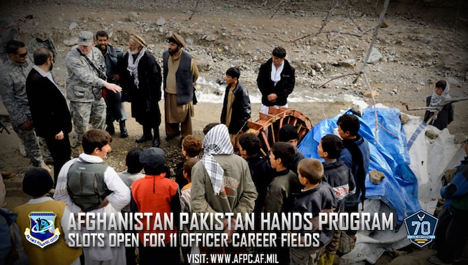 The Afghanistan Pakistan Hands program has openings available in 11 career fields for lieutenant colonels, majors and captains selected for major. Selected officers will serve in key advisor assignments to facilitate unity of command and effort, directly influencing operations in the region. (U.S. Air Force photo by Staff Sgt. James L. Harper, Jr.)