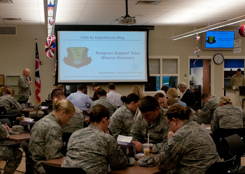 U.S. Air Force Lt. Col. Curtiss Wagner a chaplain with the 121st Air Refueling Wing, Ohio Air National Guard, says a prayer before the start of a breakfast held to celebrate the National Day of Prayer May 4, 2017 at Rickenbacker Air National Guard Base. The National Day of Prayer is an annual event held on the first Thursday of May. (U.S. Air National Guard photo by Senior Airman Ashley Williams)