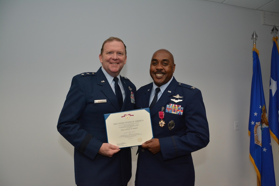 General Scobee Presents Legion of Merit to Colonel Lloyd Terry