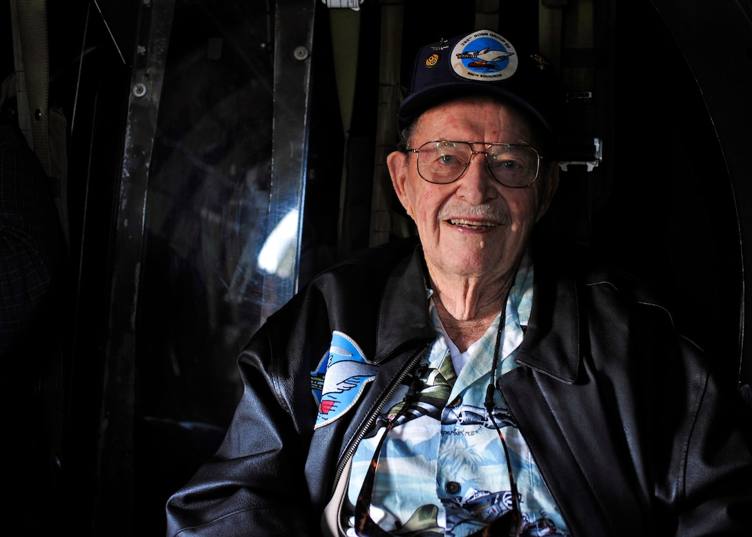Fred Parker, a veteran who worked on B-17s during WWII, smiles aboard Aluminum Overcast, a B-17 built in 1945, prior to taking off, May 10, 2017 at the Olympic Flight Museum in Tumwater, Wash. B-17s dropped more than 640,000 tons of bombs on European targets and downed more enemy aircraft per thousand raids than any other aircraft in the United States' arsenal, making it the champion of the American aerial campaign during WWII. (U.S. Air Force photo by Staff Sgt. Whitney Amstutz)