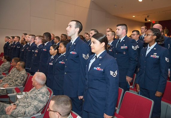 Graduates of both the fall 2016 and the spring 2017 classes at the Community College of the Air Force are awarded associate degrees during the college's graduation ceremony May 9 at Kenney Hall in the Air Force Institute of Technology. (U.S.Air Force photo/R.J. Oriez)