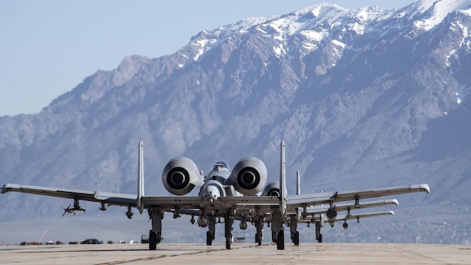 A-10 Thunderbolt II aircraft from Moody Air Force Base, Georgia, taxi before flight at Hill AFB, Utah, May 3. Airmen and aircraft from several bases participated in Combat Hammer, a two-week long exercise which evaluates precision-guided air-to-ground weapons for reliability, maintainability, suitability and accuracy. (U.S. Air Force/Paul Holcomb)
