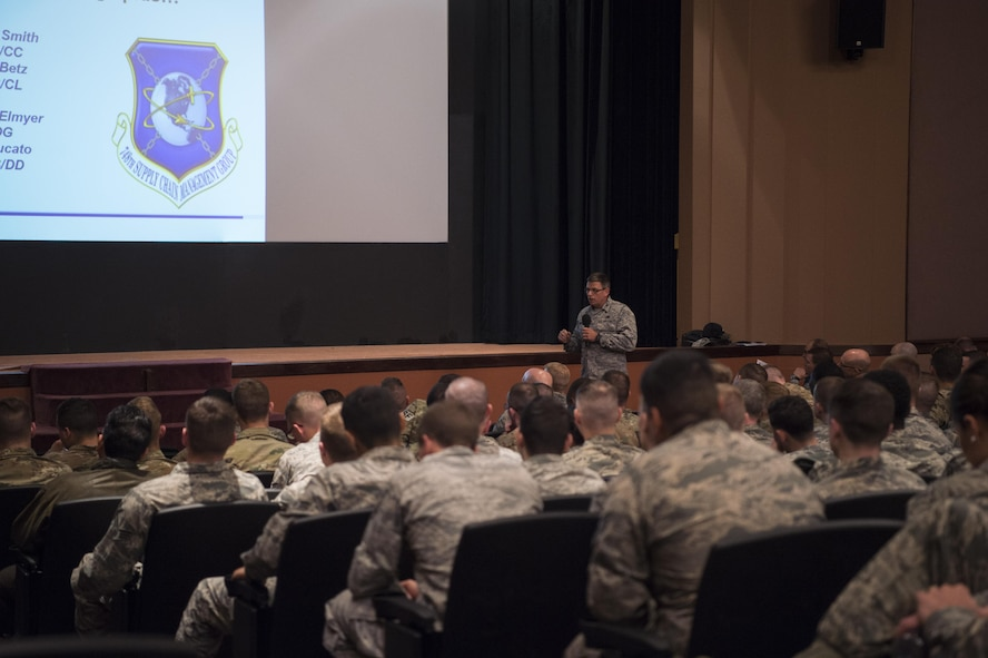 Air Force Global Strike Command and Air Force Materiel Command senior leaders held two town hall briefings at F.E. Warren Air Force Base, May 4. Leadership discussed funding, improved data analysis and increased manpower in certian areas. Airmen were given insight to the crucial partnership between AFGSC and AFMC in sustaining the ICBM mission.