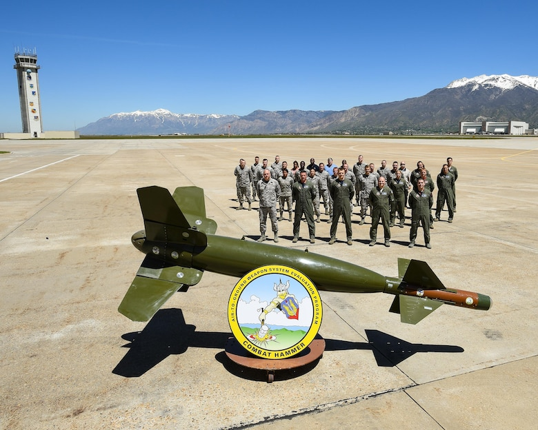Military and civilian Airmen assigned to the 86th Fighter Weapons Squadron, Detachment 1, pose for a photo May 9 at Hill Air Force Base, Utah, during Combat Hammer, part of the Weapon System Evaluation Program (WSEP). All members of 86th FWS, Det 1, work as lead evaluators to support Combat Hammer WSEPs throughout the year, at both Hill and Eglin AFB locations. (U.S. Air Force Photo)