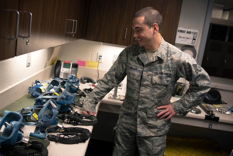 U.S. Air Force Staff Sgt. Ryan Miller, an aircrew flight equipment craftsman with the 182nd Operations Support Squadron, Illinois Air National Guard, inspects oxygen masks in Peoria, Ill., May 6, 2017. Aircrew flight equipment specialists inspect and maintain flight and survival equipment, such as helmets, parachutes and night-vision goggles. (U.S. Air National Guard photo by Tech. Sgt. Lealan Buehrer)