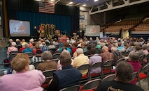Retired Minot citizens attend the Salute to Seniors event in Minot, N.D., May 9, 2017. The 21st annual event was Mardi Gras themed and included music from the Magic City Campus jazz band. (U.S. Air Force photo/Airman 1st Class Jonathan McElderry)