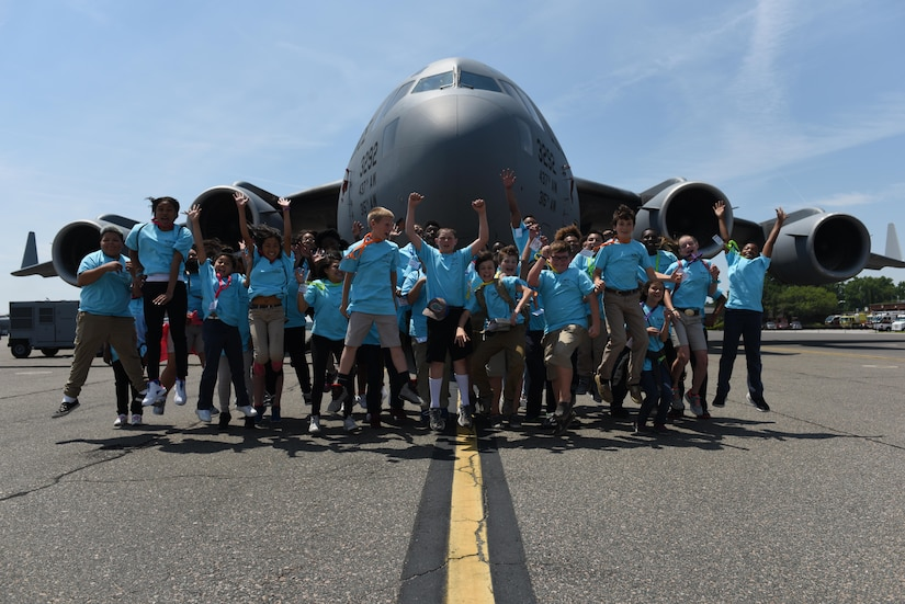 The 2017 Take Flight Aviation Camp participants tour a C-17 Globemaster III at Joint Base Charleston May 11, 2017. The camp is a Science, Technology, Engineering and Mathematics (STEM) program offered to encourage students to be career ready out of high school or college.