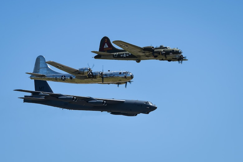 A B-29 Superfortress, B-17 Flying Fortress and B-52 Stratofortress fly in formation at the 2017 Barksdale Air Force Base Airshow, May 6. Held for the first time in 1933, the Barksdale Air Force Base Airshow is traditionally a weekend event showcasing the latest as well as historical military and civilian aircraft. (U.S. Air Force photo/Senior Airman Mozer O. Da Cunha)