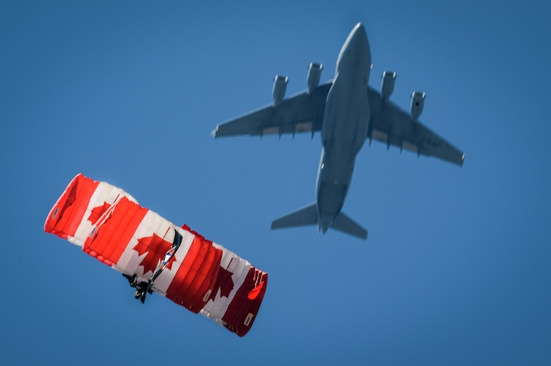 The Skyhawks, the Canadian armed forces parachute team, jump out off a C-17 Globemaster III during a performance at the 2017 Barksdale Air Force Base Airshow, May 7. The Skyhawks have performed aerobatic stunts for more than 75 million spectators over 40 years. (U.S. Air Force photo/Senior Airman Mozer O. Da Cunha)