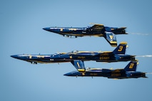 The U.S. Navy Flight Demonstration Team Blue Angels perform aerobatic maneuvers for spectators at the 2017 Barksdale Air Force Base Airshow, May 7. The mission of the Blue Angels is to showcase the pride and professionalism of the United States Navy and Marine Corps by inspiring a culture of excellence and service to country through flight demonstrations and community outreach. (U.S. Air Force photo/Senior Airman Mozer O. Da Cunha)