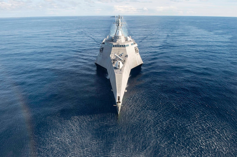 Littoral combat ship USS Coronado (LCS 4) sails during a photo exercise as part of multilateral Cooperation Afloat Readiness and Training (CARAT) exercise with the Republic of Singapore and Royal Thai navies, May 11, 2017. CARAT is a series of annual maritime exercises aimed at strengthening partnerships and increasing interoperability through bilateral and multilateral engagements ashore and at sea.