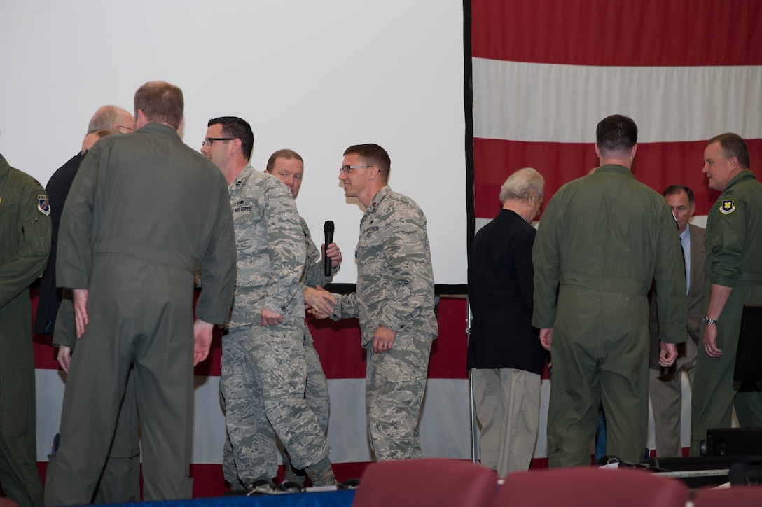 """Members of the 307th Bomb Wing celebrate after winning the Tenth Air Force Power and Vigilance Award, which is given to the unit that best exhibits the NAF mission as """"the premier provider of affordable, integrated, flexible, and mission-ready Citizen Airmen to execute power and vigilance missions in support of U.S. National security."""" (U.S. Air Force photo/Maj. Rodney Ellison)"""