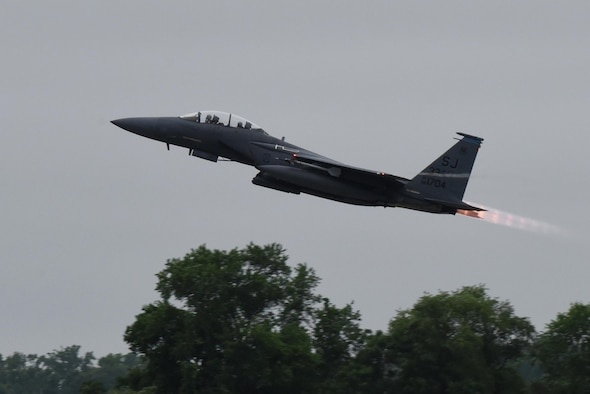An F-15E Strike Eagle takes off to participate in exercise Razor Talon, May 12, 2017, at Seymour Johnson Air Force Base, North Carolina. The Strike Eagle is designed to complete air-to-air and air-to-ground missions. (U.S. Air Force photo by Airman 1st Class Victoria Boyton)