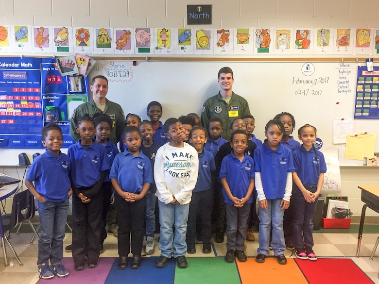 1st Lt. Ben Ortiz talks about his experience as a KC-135 pilot in the Alabama Air National Guard during a recent visit to Kipp Ways Primary School Atlanta, Ga. March 12, 2017. (photo by Kipp Ways School Staff )
